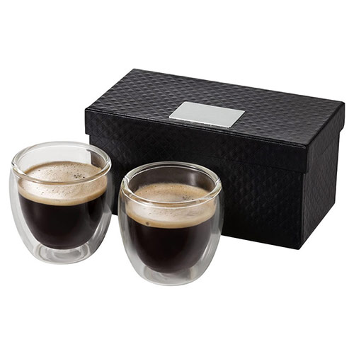 Boxed Two Cup Glass Expresso Set