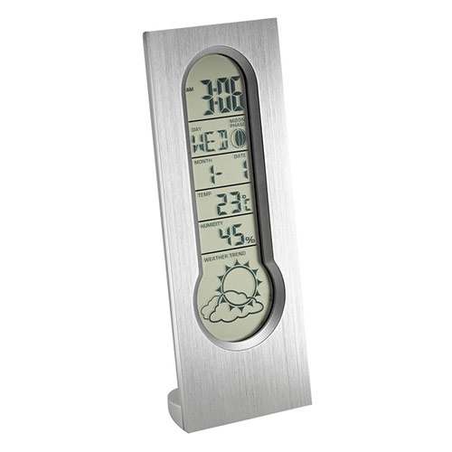 Promotional Brushed Metal Clock with Weather Station