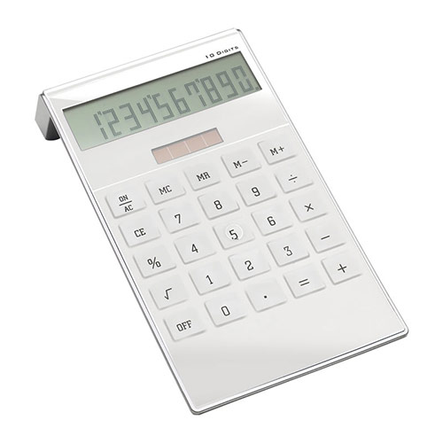 Promotional Solar Powered Calculator in White Finish