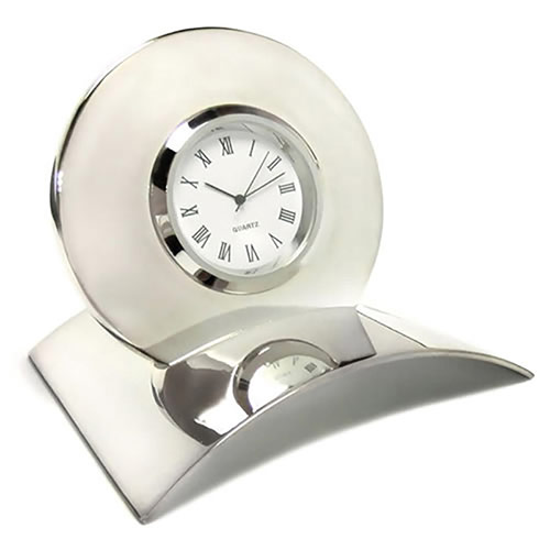 Silver Plated 'Rondo' Desk Clocks