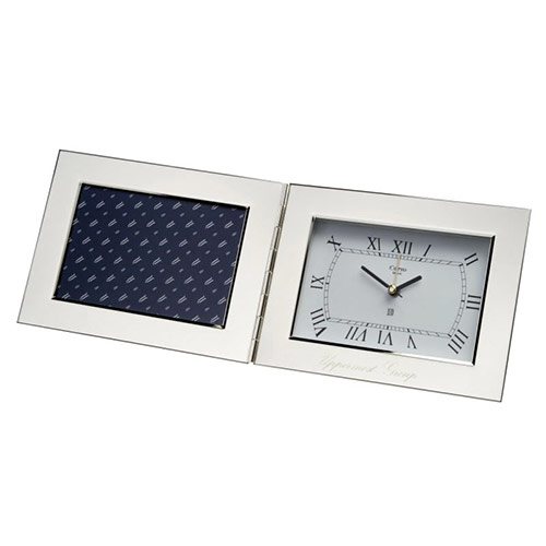 Silver Plated Folding Desk Clock with Photo Frame