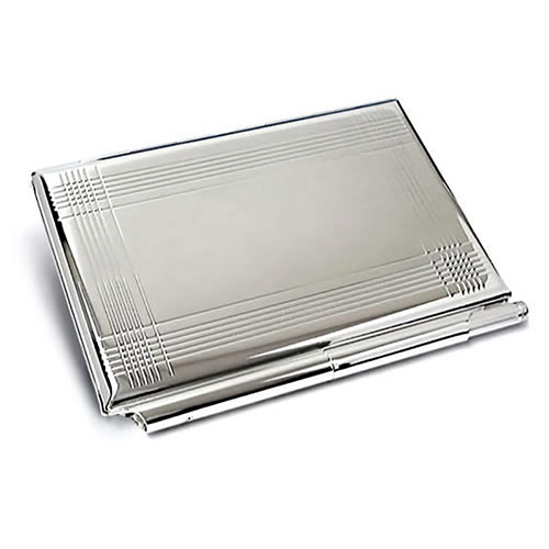 Silver Plated Card Case & Notebook with Pen