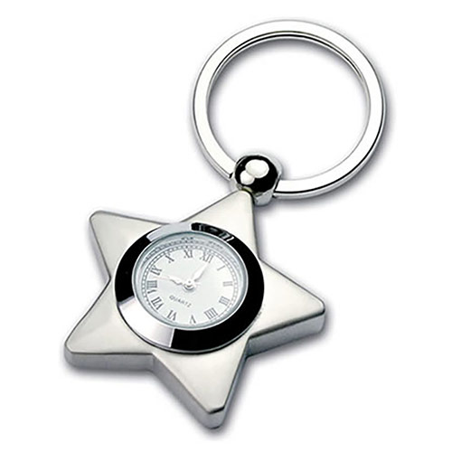 Silver Plated Star Keyring with Clock