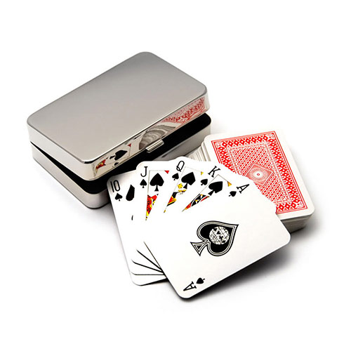 Playing Cards in Silver Plated Case
