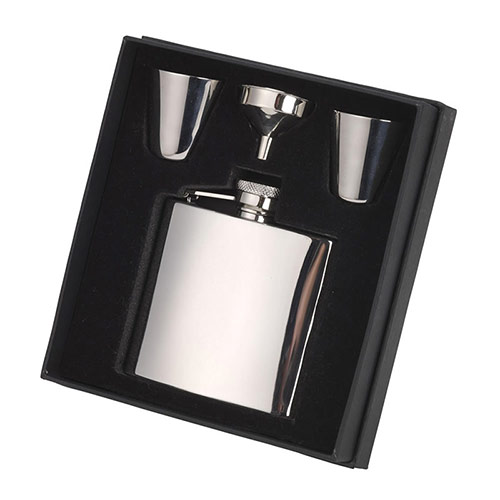 Stainless Steel Hip Flask & Cups Gift Set