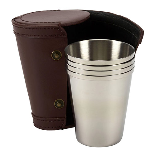 Set of Four Steel Travel Cups in Leather Case
