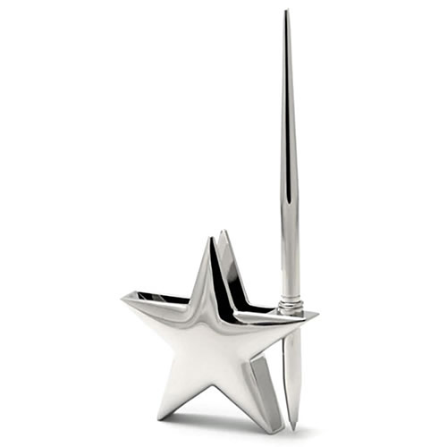 Silver Plated Star Cardholder & Pen Stand