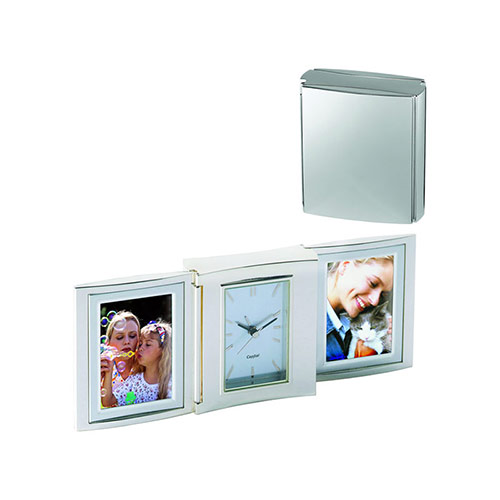 Silver Plated Folding Clock Photo Frames