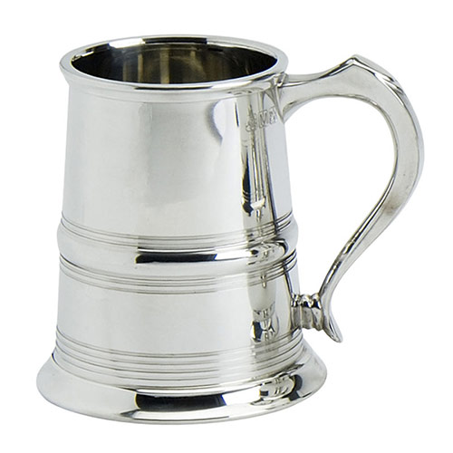 1PT Polished Pewter Tankard with Line Decoration