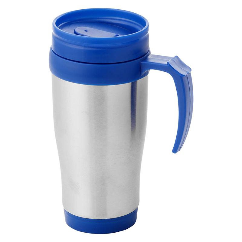 400ml Insulated Travel Mug in Blue & Silver