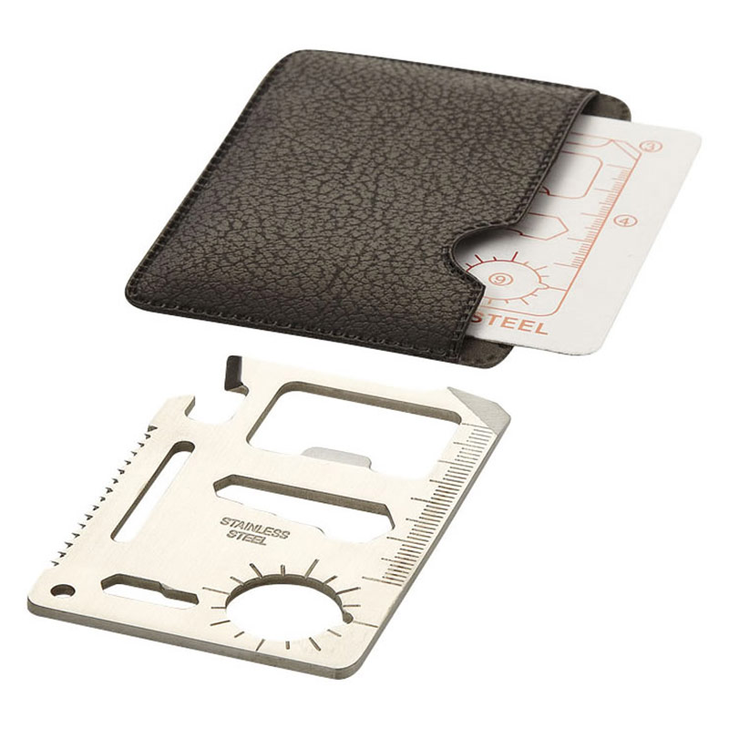 15 Function Multi-Tool Card in Faux Leather Sleeve