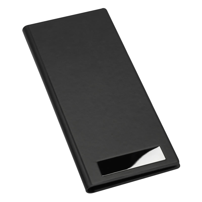 Business Cards Organiser Folder in Black PU Leather