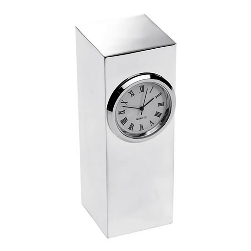 Silver Plated Tower Desk Clock