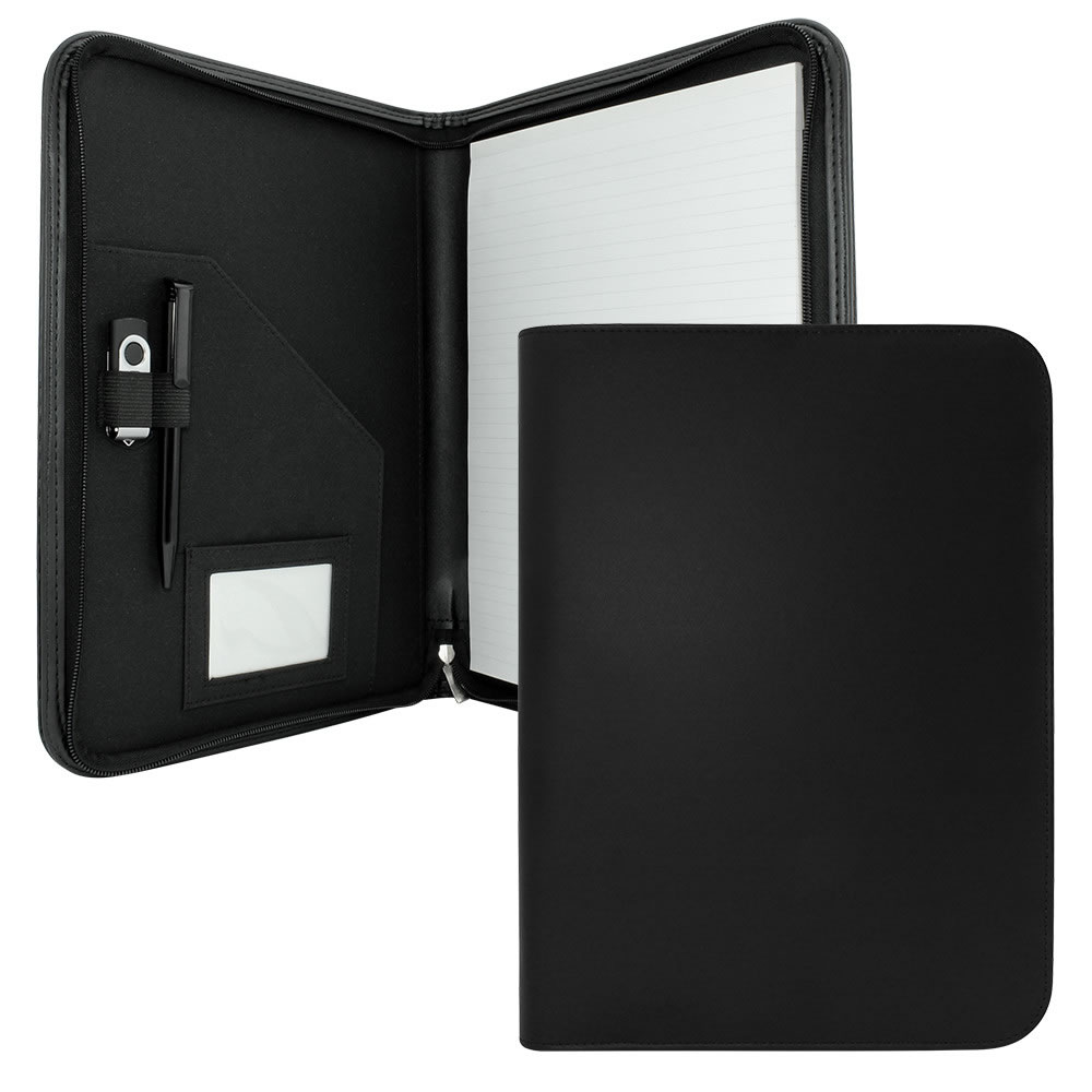 Black PU Leather A4 Zipped Conference Folder Clapham