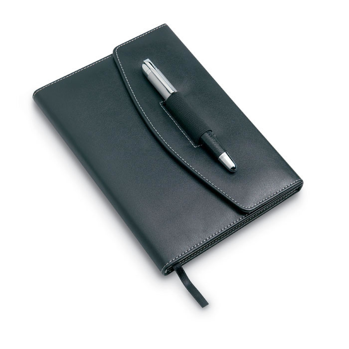 Black PU Leather A5 Folding Padfolio with Ballpoint Pen