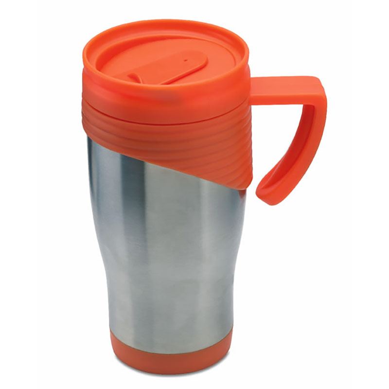 Promotional Travel Mug with Orange Trim