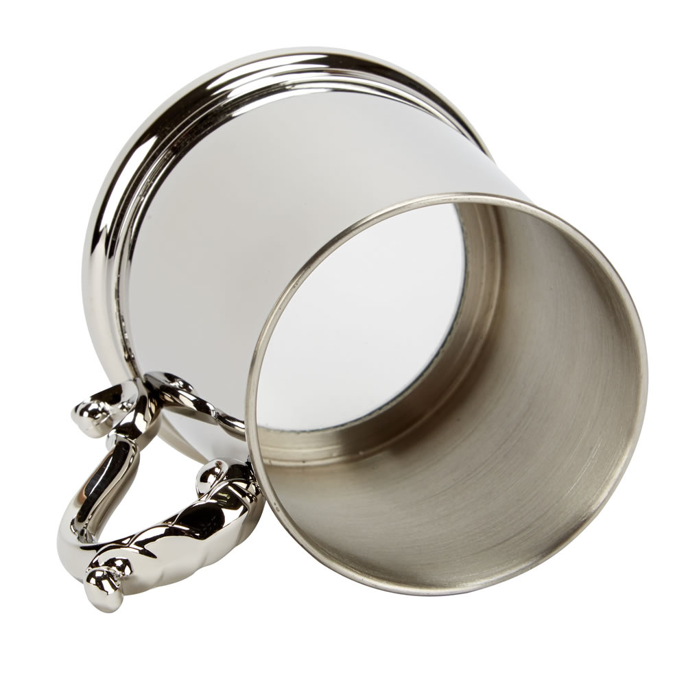 Stainless Steel Glass Bottomed Tankard with Georgian Handle