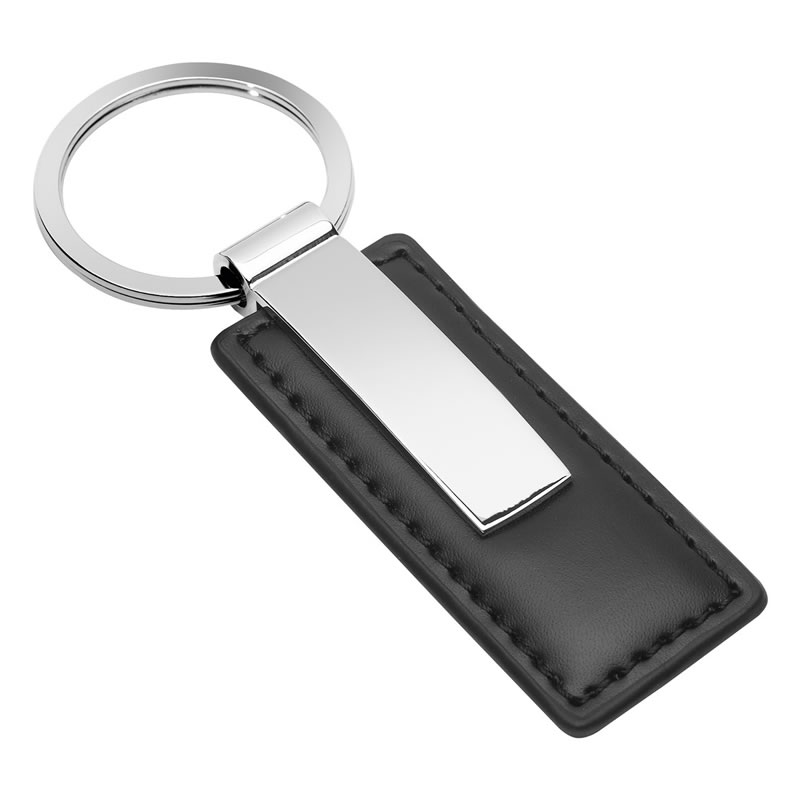 Promotional Metal & Black Leatherette Keyring