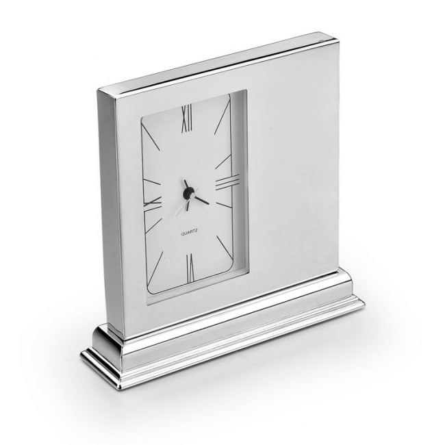 Silver Plated Square Shaped Clock