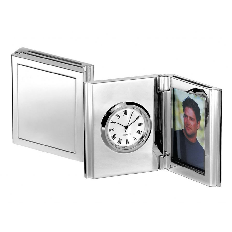 Silver Plated Folding Frames with Circular Clock