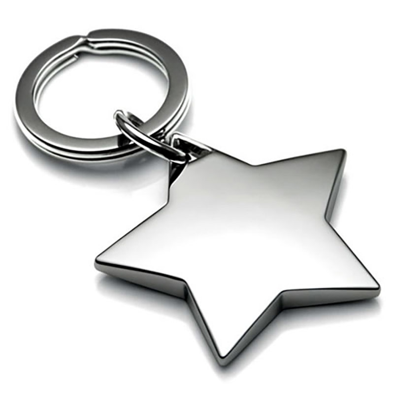 Nickel Plated Star Shaped Keyrings Business Gifts Supplier