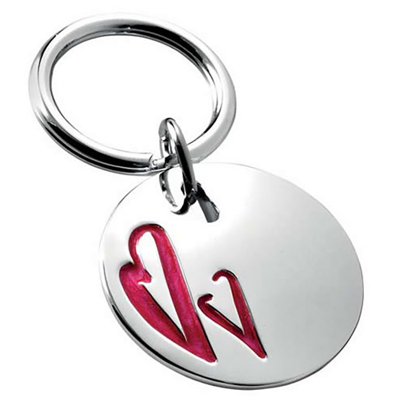 Two Heart Silver Keyring