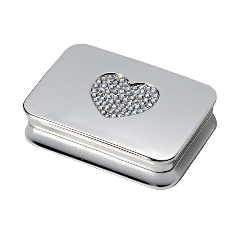 Silver Pill Box with Heart Lid
