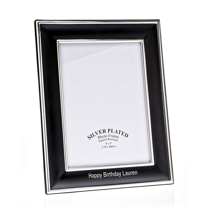 Engraved Black & Silver Plated 6x4in Photo Frame