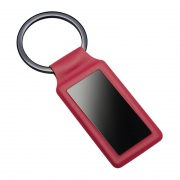 Promotional Red Leather & Metal Keyring