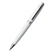 Promotional White Ballpoint Pen with Silver Fittings
