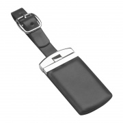 Twist Top Leather & Metal Luggage Tag