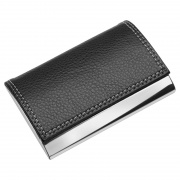 Metal Business Cards Case with Black Leather Cover