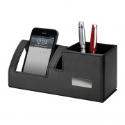 Foldable Black PU Leather Desk Tidy with Phone Stand