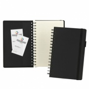 A5 Wirobound Notebook in Black Torino PU Leather