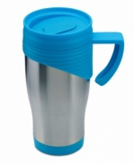 Promotional Travel Mug with Blue Trim