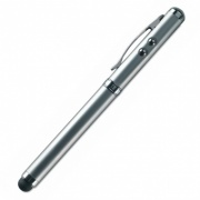 Silver Multifunction Pen with Ballpen, Light, Laser Pointer and Stylus