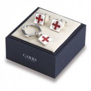 England Cufflinks & Keyring Set (Square)