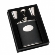 Black Leather Covered Hip Flask Set