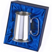 Silver Plated Two-Line Tankard with Case