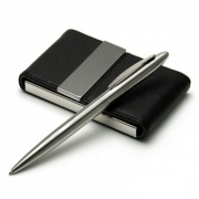 Gift Set with Leather Business Card Case and Pen