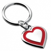 Silver Plated Red Heart Keyring