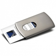 Brushed Metal Sliding Business Card Case