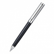 Chrome and Black Ballpoint Pen with Case