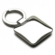 Square Silver Plated Keyring