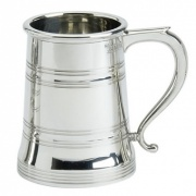 Cast Pewter Tankard with Line Decoration