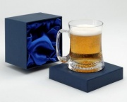 Boxed Clear Crystal Tankard with Curved Body