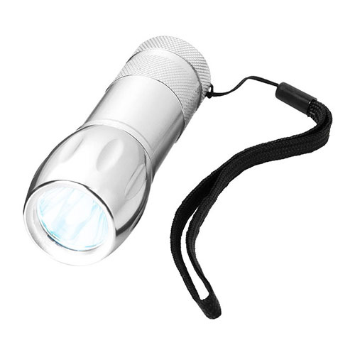 Silver Pocket Flashlight with Strap