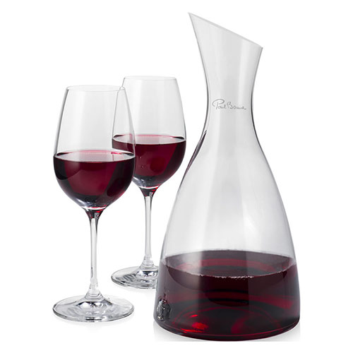 Clear Glass Decanter with Two Wine Goblets
