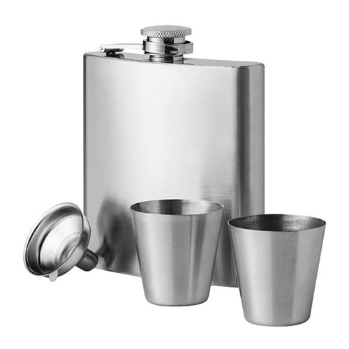 175ml Stainless Steel Hip Flask & Cups Gift Set