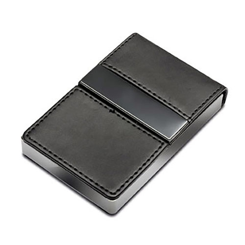 Black Leather & Metal Business Cards Holder